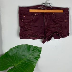 American Eagle Maroon Distressed Shortie Shorts